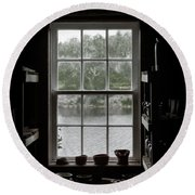 Pottery Studio Window On The River In Sherbrooke Village Nova Scotia Round Beach Towel