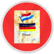 Potus For All Black Brown, Red, Yellow, White Round Beach Towel