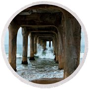 Round Beach Towel featuring the photograph Pounded Pier by Lorraine Devon Wilke