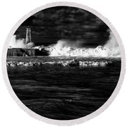 Round Beach Towel featuring the photograph Pounding The Breakwater by Nareeta Martin