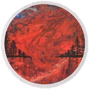 Pour - Red And Pines Round Beach Towel