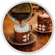 Poured Turkish Coffee Round Beach Towel