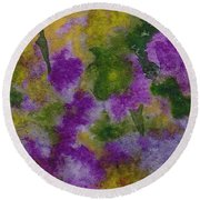 Round Beach Towel featuring the painting Pouring Flowers by Vicki  Housel