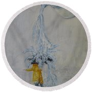 Round Beach Towel featuring the painting Pouring Rain by Kelly Mills
