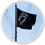 Pow Mia Round Beach Towel by Joan Bertucci