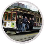 Powell And Market Street Trolley Round Beach Towel by Steven Spak