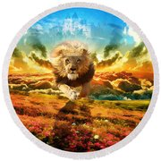 Power And Glory Round Beach Towel by Dolores Develde