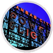 Power And Some Light Round Beach Towel by Christopher McKenzie