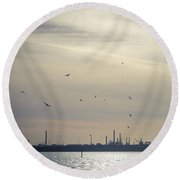 Power By The Sea Round Beach Towel