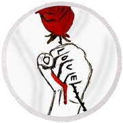 Round Beach Towel featuring the drawing Power Of Love by Lucy Frost