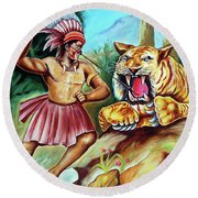 The Beast Of Beasts Round Beach Towel