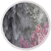 Round Beach Towel featuring the photograph Powerful And Gentle Waterfall Art  by Valerie Garner