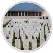 Pozieres British Cemetery Round Beach Towel by Travel Pics
