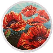Ppoppies Round Beach Towel