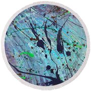 Round Beach Towel featuring the painting Practice Board - Nightingale by Robbie Masso