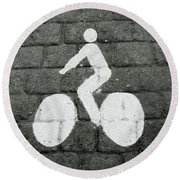 Prague Bike Lane-  By Linda Woods Round Beach Towel