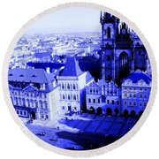 Round Beach Towel featuring the photograph Prague Cz by Michelle Dallocchio