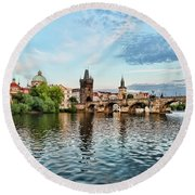 Prague From The River Round Beach Towel