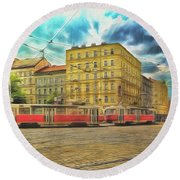 Prague Round Beach Towel