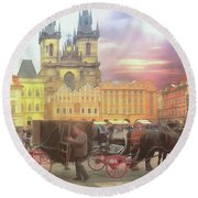 Prague Old Town Square Round Beach Towel