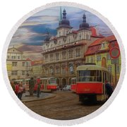 Prague, Old Town, Street Scene Round Beach Towel