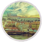 Prague Riverview Round Beach Towel