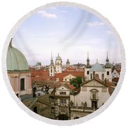 Prague Twilight Round Beach Towel