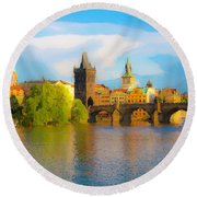 Praha - Prague - Illusions Round Beach Towel by Tom Cameron