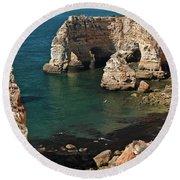 Praia Da Marinha Cliffs And Sea Round Beach Towel