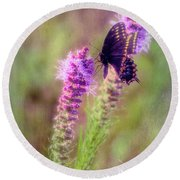 Prairie Butterfly Round Beach Towel