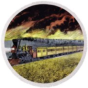 Prairie Fires Of The Great West Round Beach Towel
