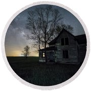 Round Beach Towel featuring the photograph Prairie Gold And Milky Way by Aaron J Groen