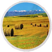 Prairie Moutains And Fields Round Beach Towel