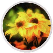 Sun Sisters Revisited Round Beach Towel