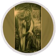 Praise Him With The Harp I Round Beach Towel by Anastasia Savage Ealy