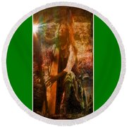 Praise Him With The Harp II Round Beach Towel by Anastasia Savage Ealy