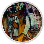 Praise Him With The Harp IIi Round Beach Towel by Anastasia Savage Ealy