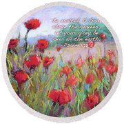 Praising Poppies With Bible Verse Round Beach Towel