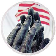 Pray For The Usa Round Beach Towel