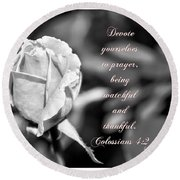 Round Beach Towel featuring the photograph Prayer by Debby Pueschel