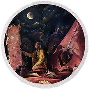 Round Beach Towel featuring the painting Prayer For The Protectors by Nancy Griswold