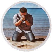 Prayer Round Beach Towel