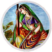 Krishna - Prayer Round Beach Towel