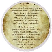 Prayer Of St Francis - Antique Parchment Round Beach Towel by Ginny Gaura