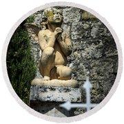 Praying Angel In Auvillar Cemetery Round Beach Towel by RicardMN Photography