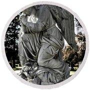 Praying Cemetery Angel  Round Beach Towel by Gary Whitton