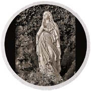 Round Beach Towel featuring the photograph Praying Nun by Elf Evans