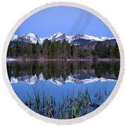 Pre Dawn Image Of The Continental Divide And A Sprague Lake Refl Round Beach Towel