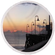 Pre-sunrise On Daytona Beach Pier   Round Beach Towel