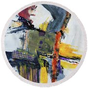 Precarious Round Beach Towel by Ron Stephens
